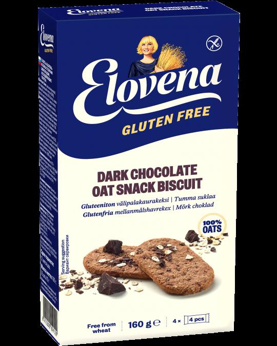 Elovena Gluteeniton Välipalakaurakeksi Tumma suklaa